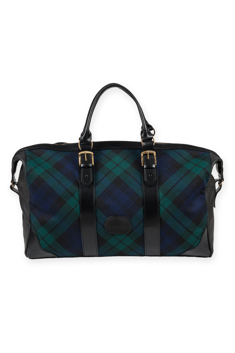 Black Watch and leather weekend bag - Made in Scotland