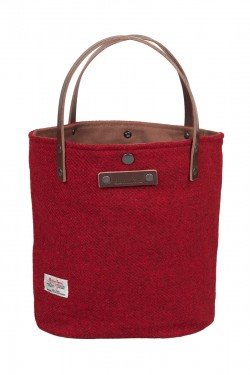 Red harris tweed bucket tote bag