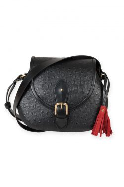 Black leather saddle bag red suede lining