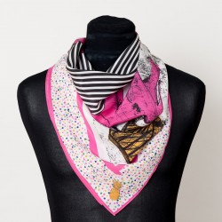The Emma Silk Scarf (Hot Pink Elephants)