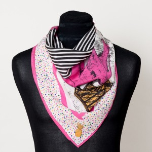 The Emma Silk Scarf (Hot Pink Elephants)