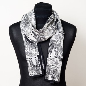 The Emma Silk Scarf (Long with Animals)