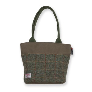 'The Ailsa' Traditional Bucket-tote in Olive Canvas/Green Check Harris Tweed