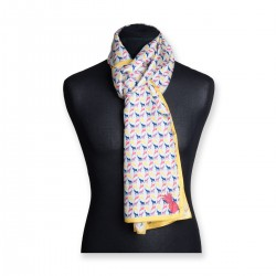 The Emma Silk Scarf (Geometric Yellow Border)