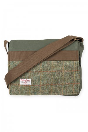 Satchel style bag made from Harris tweed and canvas.
