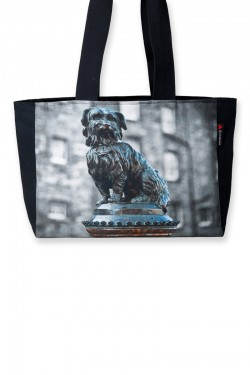 Black canvas tote bag with a photograph of famous Edinburgh dog Greyfriar's Bobby on the front panel