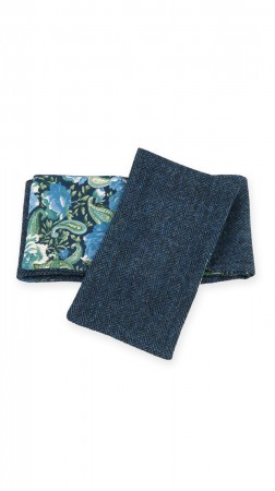Blue harris tweed scarf with paisley pattern lining