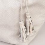 Leather tassle detail on leather shoulder tote bag