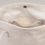 White leather tote bag made in Scotland