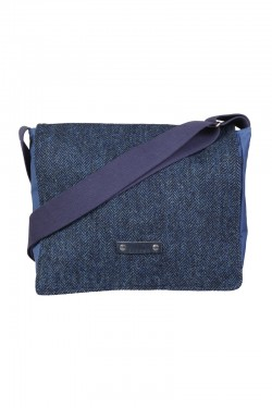 navy blue harris tweed satchel
