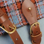 Brown leather Orkney satchel harris tweed made in Scotland