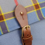 Leather detail on tartan Orkney satchel Made in Scotland