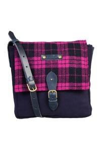 Pink Harris tweed check satchel