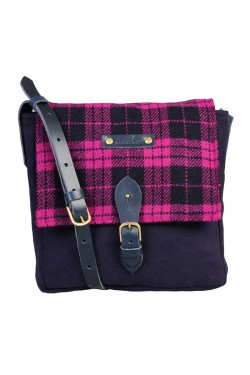 Pink Harris tweed check satchel