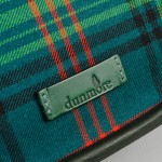 Tartan saddle bag leather logo made in scotland